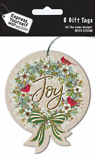 Joy Bauble Christmas Gift Tags Pack Of 8 Tags With String