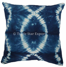 Set Of 2 Pcs Indian Shibori Indigo Pillow Case 16x16 Hand Tie Dyed Cushion Cover