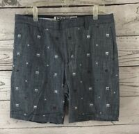 """Micros Size 36 Tailored Fit Shorts Blue Palm Trees Print """"Denim Look"""" Men's"""