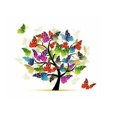 Butterfly Tree - Colourful Abstract Art Square Poster / Canvas Picture Prints