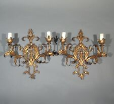 Pair of Vintage French Gilded Tole Sconces, Acanthus Leaves, Riviera Style
