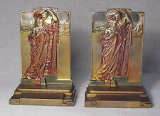 Adoration Gray Metal Bookends rare with Tags by Pompeian Bronze circa 1923/Nice!