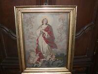 Rarität grosse über 200 Jahre altes Marienbild Klosterarbeit handgestickt