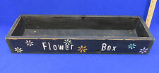 Flower Box Wood Wooden Planter Holder Distressed Black 26 x 8 Daisy Flower Power