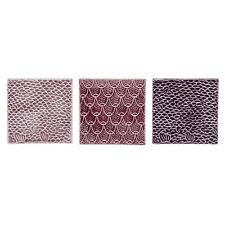 Deko Fliesen 3er Set rosa lila violett Keramik Retro Skandinavisch Bloomingville