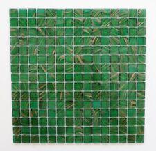 Sample Glass Mosaic Tile Sheet Amsterdam Meadow Green Gold Dust
