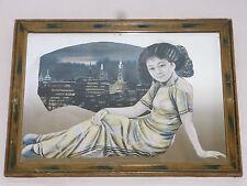 05B40 ANCIEN CADRE MIROIR LITHOGRAPHIE JAPON CHINE GEISHA TOKYO ART DÉCO 1930