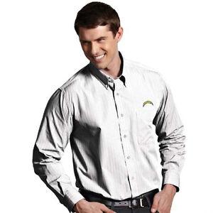 "NEW San Diego Chargers ""Esteem"" Button Down Dress Shirt by Antigua Mens XL White"