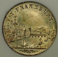 NGC Frankfurt MS 64 1853 6 Kreuzer Silver Coin City View Flashy Unc MS Rare Gem