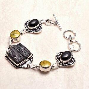 Black Tourmaline Rough Pearl Ethnic Handmade Bracelet Jewelry 25 Gms AB 93116