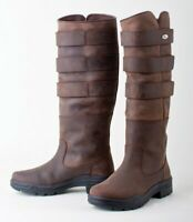 Rhinegold 'Elite' Colorado Long Leather Equestrian Country Stable Boots BRN  UK6