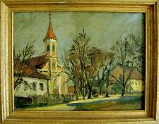 ARTUR MÜLLER - Dorfplatz mit Kirche. Original Ölgemälde, Prex o.J., 34,5 x 44 cm