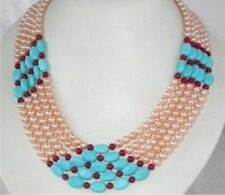 Gorgeous Jewelry Real Pink Pearl & Turquoise Coral Necklace