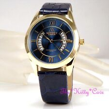 Unusual Designer Gold Pltd & Blue Leather Ladies Gents Unisex Date Display Watch