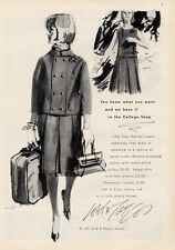 1964 Lord & Taylor Fashion Flat-Knit Wool Jacket Yoked Skirt PRINT AD