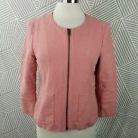 Loft Ann Taylor Jacket Coat Button Up Lined Size 10 Textured Cotton blazer Pink