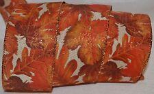 Wired Ribbon~Thanksgiving Woven Tan~Fall Orange Maple Leaf~Autumn Oak~Wreath~Bow