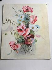 VINTAGE MID CENTURY OIL Painting Poppies Beautiful Colour  Country Chic