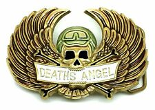 Skull Belt Buckle Wings Deaths Angel Biker Solid Brass Authentic Baron Buckles
