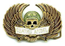 Cranio Fibbia della Cintura Ali morti Angel Biker Ottone Massiccio Autentico Baron Buckles