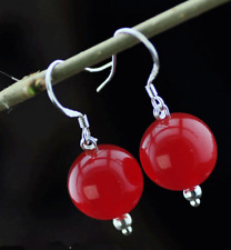 AAA PRETTY 10MM NATURAL RED JADE ROUND BEADS DANGLE EARRINGS