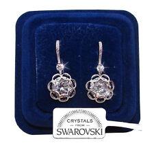 Orecchini da donna pl oro bianco 18K zirconi cristalli swarovski veri SW3 fiore