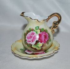 Vintage Allied Japan Miniature Small Pitcher Basin Hand Painted Gold Trim Roses