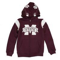 "Mississippi State Bulldogs NCAA Maroon ""Helmet"" Full Zip Hoodie Jacket Youth"