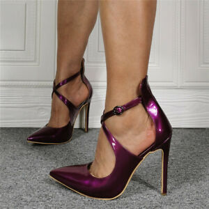 Women Stilettos Patent Leather Pointed Toe Cross Buckle Strap High Heels Shoes