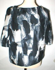 NWT New Womens Designer Acne Blouse Top 36 IT 2 Silk Black Gray Begonia Career