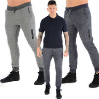 MENS SLIM FIT JOGGING BOTTOM JOGGERS RUNNING FLEECE PANTS GYM SPORTS ZIP POCKET