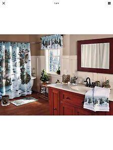 Woodland Lodge Winter Moose Bear Bathroom Ensemble. Shower/Valance/Towels & More
