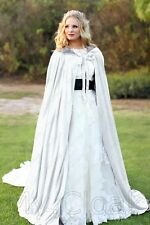 Medieval White-Silver Wedding Velvet Cape Halloween Hood Cloak Vampire Gothic