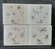 Stampin' Up SPRINKLES Set 4 Background Rubber Stamps Lot Butterfly Heart Flower