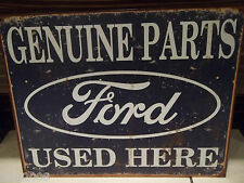 FORD, Genuine Parts Used Here, ANTIQUE-FINISH METAL WALL SIGN 40x30 cm Mustang