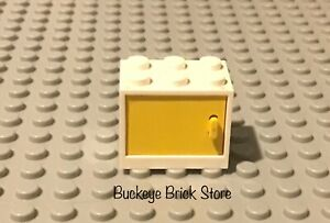 LEGO White  CONTAINER YELLOW Door 2x3x2 Home Cupboard Nightstand Dollhouse