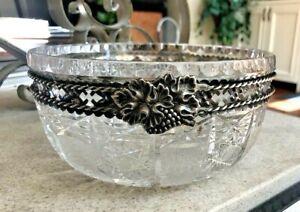 Antique American Brilliant Cut Crystal? Bowl w/ Sterling Silver Band