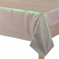 Pink Iridescent Plastic Table Cloth Cover Disposable Unicorn / Mermaid Party