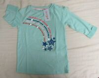 NWT Cat & Jack Girls 3/4 Sleeve Shirt Alpine Aqua Teal Size 10/12