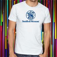 Smith & Wesson Top Gun Manufacture Blue Logo Men's White T-shirt Size S-2XL