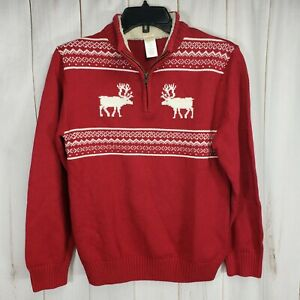 Gymboree Boys Large 1/4 Zip 10 12 Red White Fair Isle Reindeer Sweater Shearling