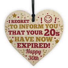 Novelty 30th Birthday Gifts For Friend Wooden Heart Sign Funny Men