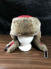 Mad Bomber Trapper Rabbit Fur Hat Medium Red Faux Leather Strap M Winter Cap