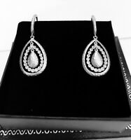 Gabriel & Co. 14k white gold Diamond Tear Drop lever back dangle earrings