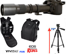 "Vivitar 500Mm Preset Zoom Lens +72"" Tripod + Backpack For Canon T5 T6 T5I T7 T3"