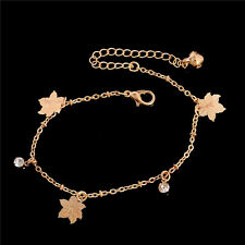 Barefoot Sandal Beach Rose Gold Plated Flower Charm Anklet&Bracelet Jewelry New