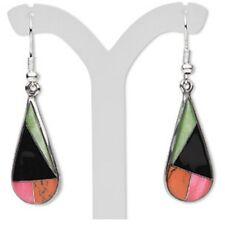 Gemstone Inlaid Mosaic Black Onyx Resin Jasper  Silver Plated Teardrop Earrings
