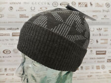 MICHAEL KORS Fold-Up Beanie Ribbed Cuff MK Hat Charcoal Arylic Skull Cap BNWT