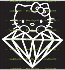 Hello Kitty on Diamond - Cars /SUV's Vinyl Die-Cut Peel N' Stick Decal / Sticker