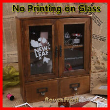 Timber Wall Shelf Mounted Display Cabinet Unit Cupboard Chest of Glass Storage